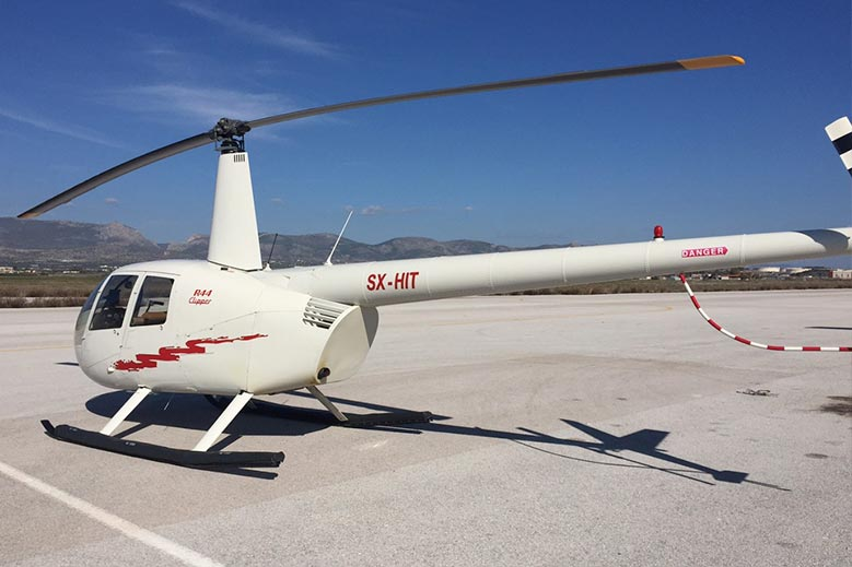Charter a Robinson Helicopter for a private flight in Greece
